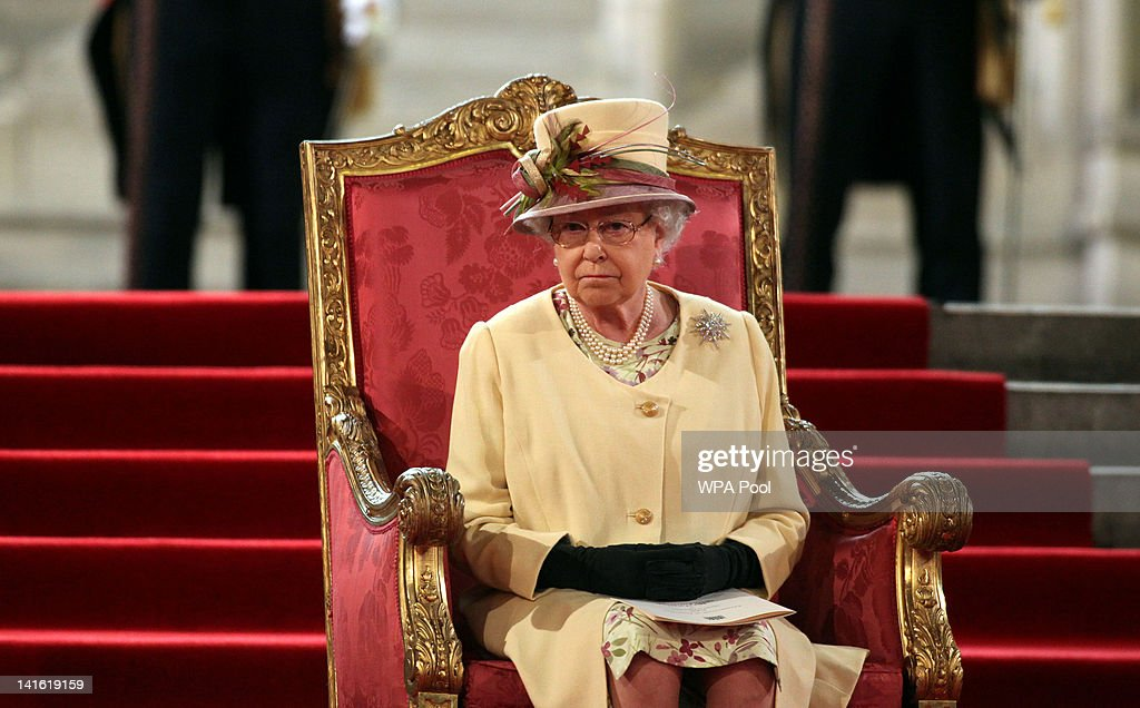 Queen Elizabeth II Receives The Addresses From Both Houses Of Parliament : News Photo