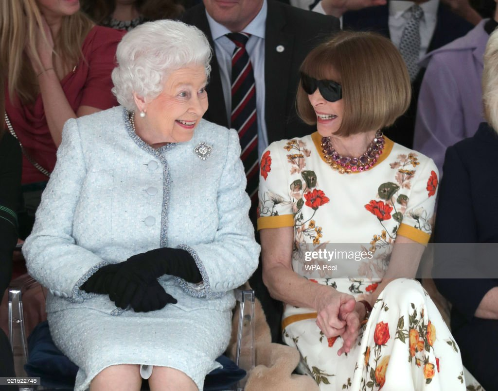 The Queen Of England Goes Front Row At London Fashion Week