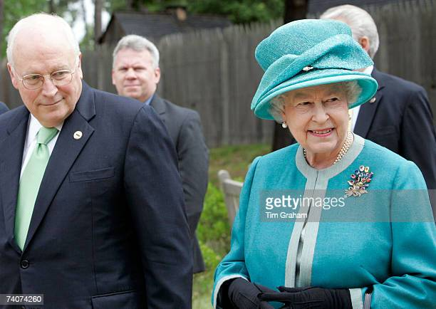 Queen Elizabeth II sits with VicePresident Dick Cheney at Jamestown Settlement on the second day of her USA tour on May 4 2007 in Williamsburg VA...