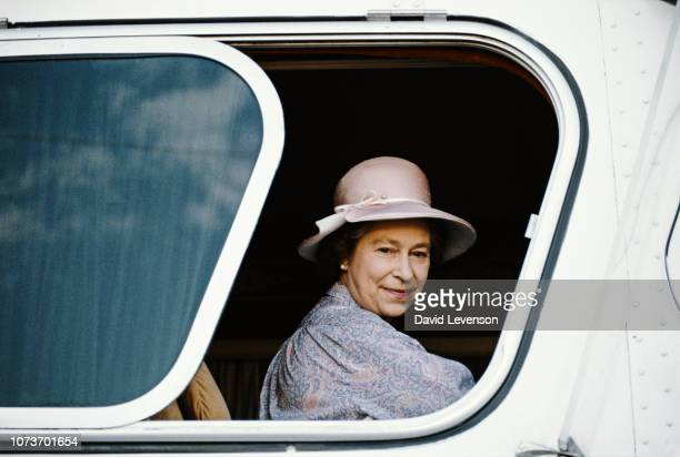 Queen Elizabeth II sitting on a coach to tour the Sicarsta Steel Works in Acapulco Mexico 18th February 1983 Queen Elizabeth II was on a Royal Tour...