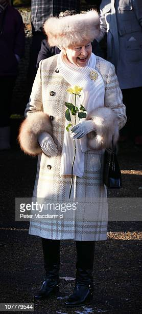 Queen Elizabeth II smiles after attending the Christmas Day Church Service at St Mary's Church on December 25 2010 in Sandringham England The Queen's...