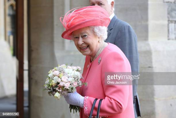 Queen Elizabeth II smiles after she started the London Marathon from Windsor Castle which was relayed to big screens at Blackheath setting off 40000...