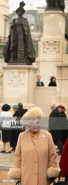 Queen Elizabeth II smiles after unveiling a new statue of Queen Elizabeth, the Queen Mother on the Mall on February 24, 2009 in London, England. The...