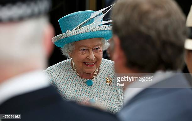 Queen Elizabeth II smiles as she arrives at Lancaster Railway Station on May 29 2015 in Lancaster England