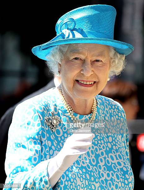 Queen Elizabeth II smiles as she arrives for the Sunday Service at the Cathedral Church of St James on July 4, 2010 in Toronto, Canada. The Queen and...