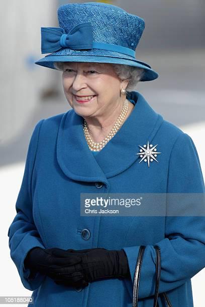 Queen Elizabeth II smiles as she arrives to name Cunard's new cruiseliner Queen Elizabeth II in Southampton Docks on October 11 2010 in Southampton...