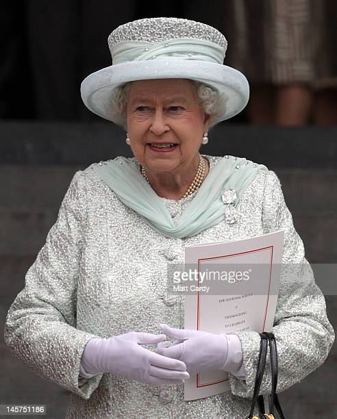 Queen Elizabeth II smiles as she leaves a Service Of Thanksgiving at St Paul's Cathedral on June 5 2012 in London England For only the second time in...