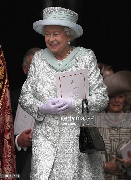 Queen Elizabeth II smiles as she leaves a Service Of Thanksgiving at St Paul's Cathedral on June 5, 2012 in London, England. For only the second time...