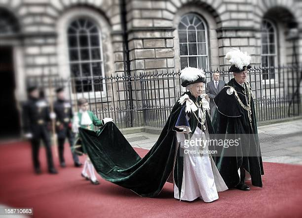 Queen Elizabeth II smiles as she leaves St Giles Cathederal after the Thistle Ceremony on July 5 2012 in Edinburgh Scotland Prince William Duke of...
