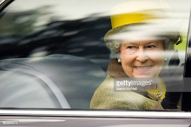 Queen Elizabeth II smiles as she leaves the 2009 Braemar Royal Highland Gathering in The Princess Royal and Duke of Fife Memorial Park on September 5...