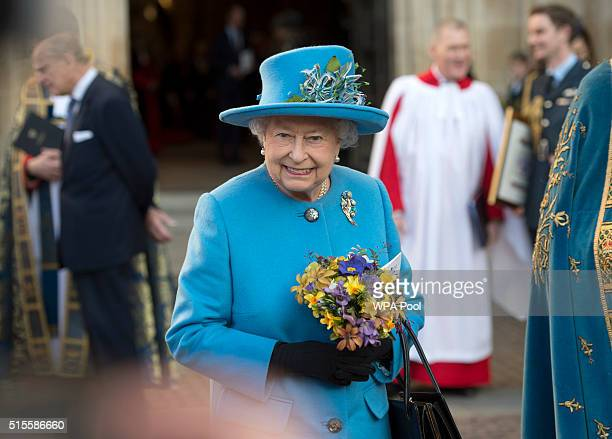 Queen Elizabeth II smiles as she leaves the annual Commonwealth Day service on Commonwealth Day on March 14 2016 in Westminster Abbey London The...