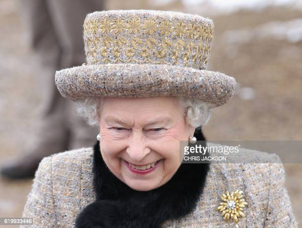 Queen Elizabeth II smiles as she leaves the Sunday Service at West Newton Church on February 5 2012 in West Newton Queen Elizabeth II and her husband...