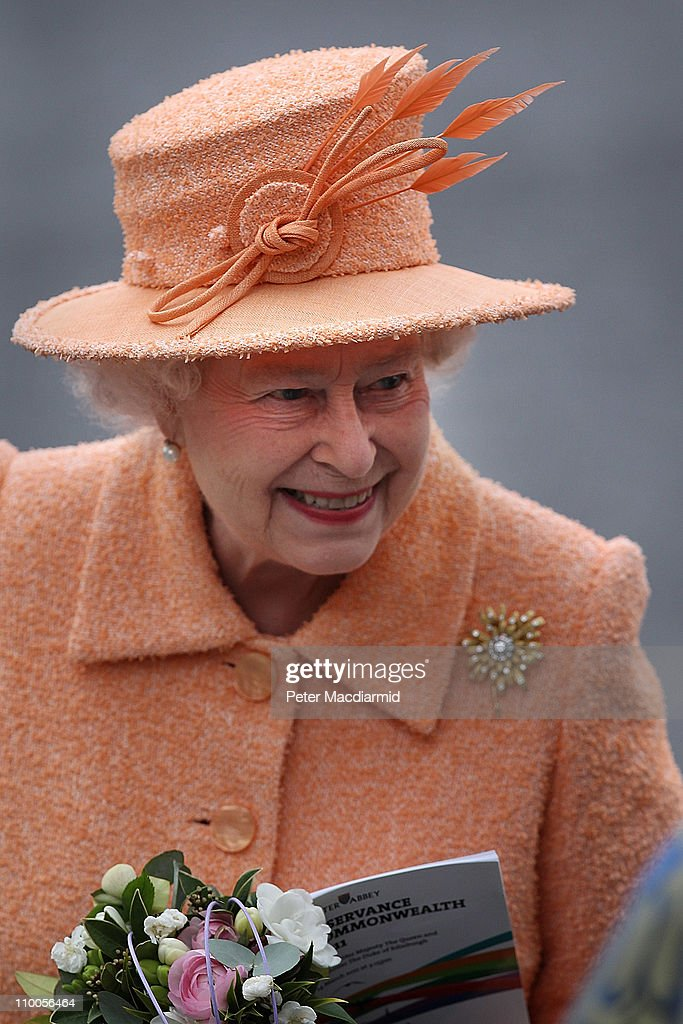 Queen Elizabeth II Attends Commonwealth Observance Service At Westminster Abbey : News Photo