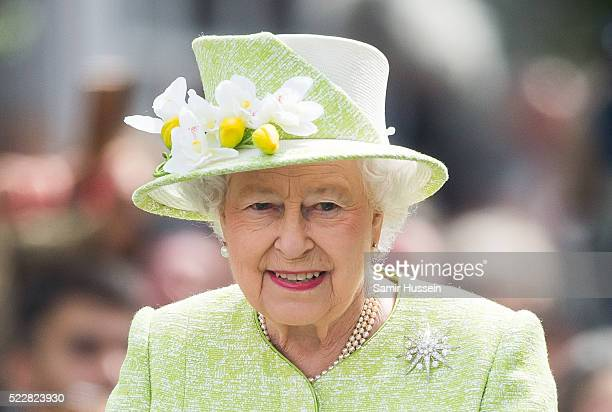 Queen Elizabeth II smiles as she meets well wishers on a walk about around Windsor on her 90th Birthday on April 21 2016 in Windsor England