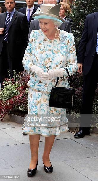 Queen Elizabeth II smiles as she visits the British Garden at Hanover Square on July 6 2010 in New York City Queen Elizabeth II and Prince Philip...