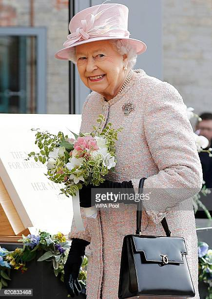 Queen Elizabeth II smiles during a visit to the National Heritage Centre for Horseracing and Sporting Art on November 3 2016 in Newmarket England