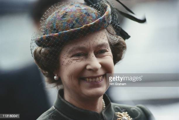 Queen Elizabeth II smiling as she attends an service to mark Commonwealth Day at Westminster Abbey in London England Great Britain November 1983