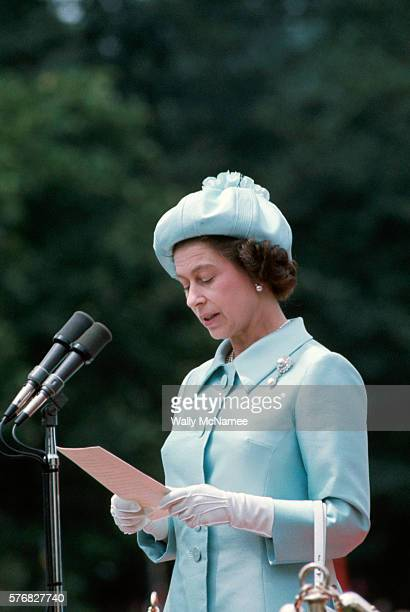 Queen Elizabeth II speaks at an arrival ceremony at the White House on the occasion of her visit to the United States during the Bicentennial...