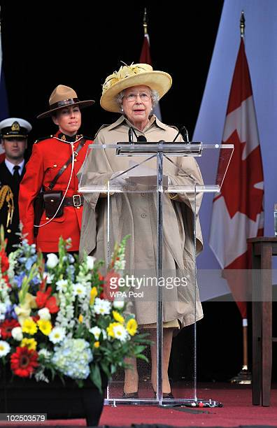 Queen Elizabeth II speaks at the Garrison on June 28 2010 in Halifax Canada The Queen and Duke of Edinburgh are on an eight day tour of Canada...