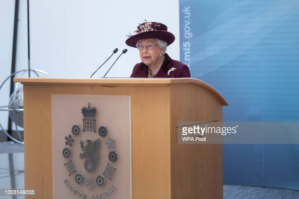 Queen Elizabeth II speaks during a visit to the headquarters of MI5 at Thames House on February 25 2020 in London England MI5 is the United Kingdom's...