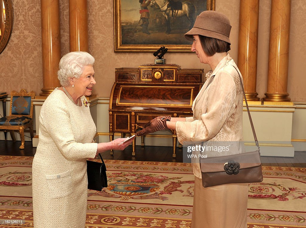 Queen Elizabeth II speaks with San Marino Ms Federica Bigi, during a private audience presenting his Credentials at Buckingham Palace on February 19, 2013 in London, England.