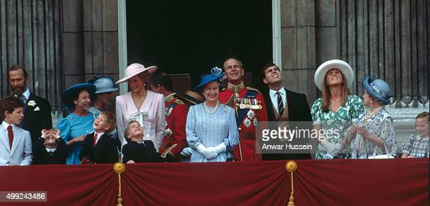 Queen Elizabeth II stands on the balcony of Buckingham Palace at the Trooping the Colour ceremony with Lord Frederick Windsor Prince Michael of Kent...
