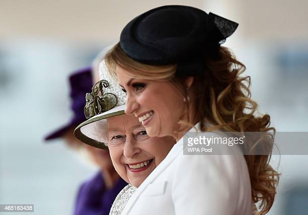 Queen Elizabeth II stands with Angelica Rivera, the wife of Mexico's President, during a ceremonial welcome at Horse Guards Parade during a...