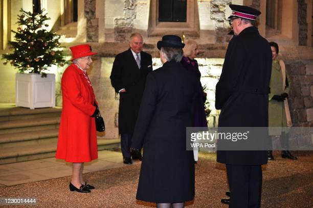 Queen Elizabeth II stands with Prince Charles, Prince of Wales , Camilla, Duchess of Cornwall and Princess Anne, Princess Royal, as they thank local...