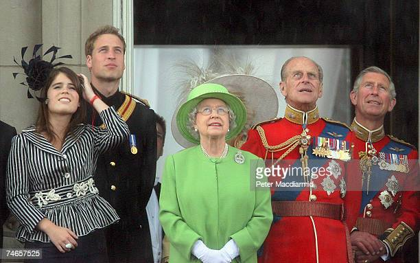 Queen Elizabeth II stands with Princess Eugenie, Prince William, Prince Philip, Duke of Edinburgh and Prince Charles, Prince of Wales on the balcony...