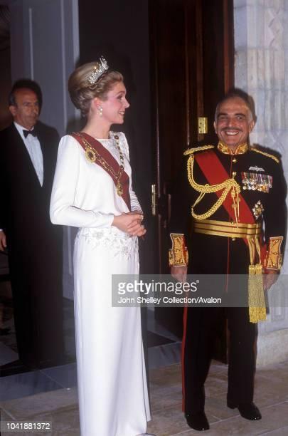 Queen Elizabeth II State visit to Jordan King Hussein of Jordan and Queen Noor of Jordan 27th March 1984