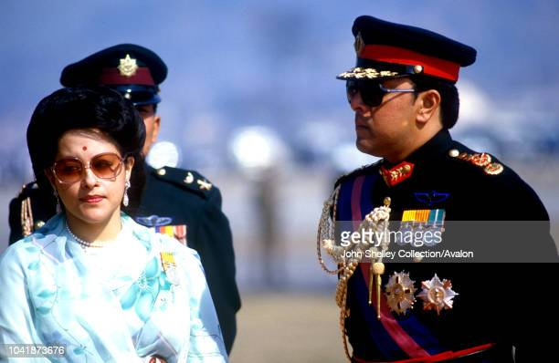 Queen Elizabeth II state visit to Nepal 17th 21st February 1986 King Birendra and Queen Aishwarya of Nepal