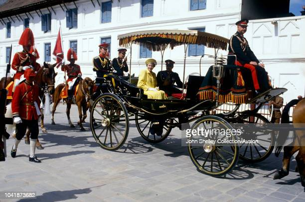 Queen Elizabeth II state visit to Nepal 17th 21st February 1986 King Birendra of Nepal rides with the Queen