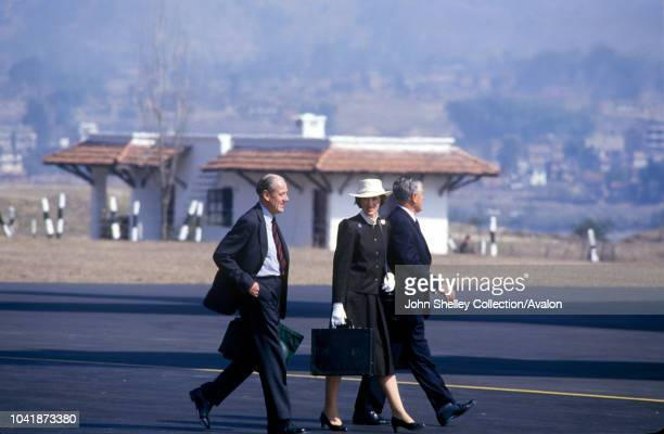 Queen Elizabeth II state visit to Nepal 17th 21st February 1986 The Lady Susan Hussey Lady in Waiting to Her Majesty Queen Elizabeth II