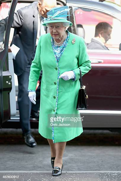 Queen Elizabeth II steps out of her car as she visits the Glasgow National Hockey Centre to watch the hockey during day one of 20th Commonwealth...