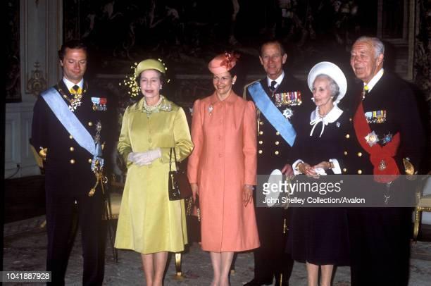 Queen Elizabeth II, Sweden, King Carl XVl Gustaf and Queen Silvia of Sweden, Prince Philip, Duke of Edinburgh, 25th May 1983.