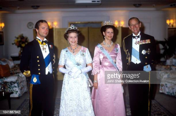 Queen Elizabeth II, Sweden, King Carl XVl Gustaf and Queen Silvia of Sweden, Prince Philip, Duke of Edinburgh, 25th May 1983.