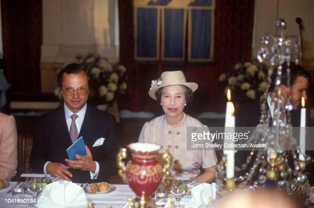 Queen Elizabeth II, Sweden, King Carl XVl Gustaf and Queen Silvia of Sweden, 25th May 1983.