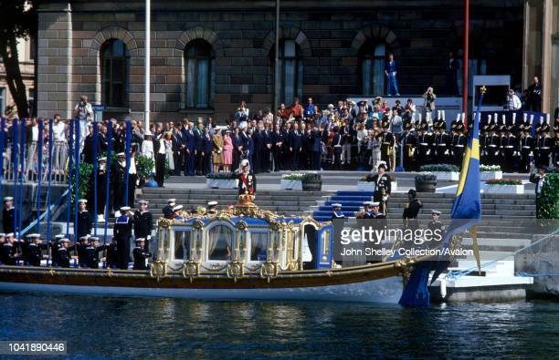 Queen Elizabeth II Sweden The Royal Barge is rowed into Stockholm 25th May 1983
