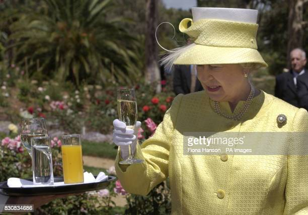 Queen Elizabeth II takes a glass of wine during a visit around the Chateau Barrosa vineyards She had travelled to the winegrowing area outside...
