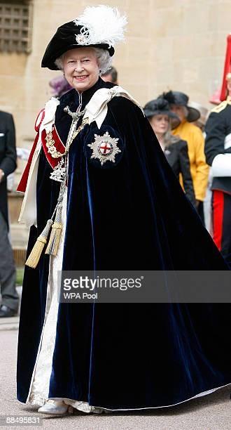 Queen Elizabeth II takes part in the Garter Ceremony Procession up to St George's Chapel on June 15 2009 in Windsor England The Order of the Garter...
