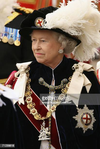 """Queen Elizabeth II takes part in """"The Procession and Installation Service"""" of The Most Noble Order of the Garter during the Garter Ceremony on June..."""