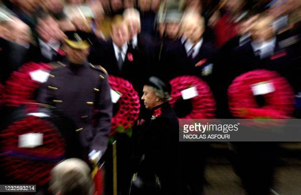 Queen Elizabeth II takes part in the Remembrance Service at the Cenotaph in central London, Sunday 10 November 2002.