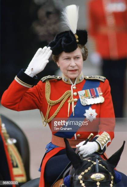 Queen Elizabeth II taking part in Trooping the Colour parade.