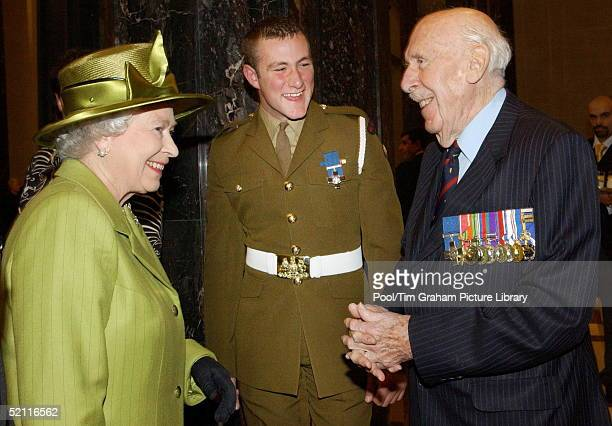 Queen Elizabeth II Talking With Colonel Stuart Archer Mc Vc Obe And Trooper Christopher Finney Who At 19 Was Awarded The George Cross For Actions In...