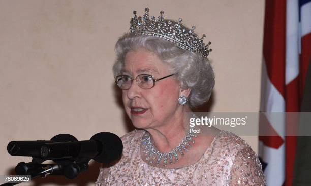 Queen Elizabeth II talks at a State Banquet at State House on November 22 2007 in Entebbe Uganda The Queen will open the Commonwealth Heads of...