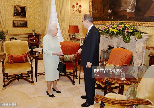 Queen Elizabeth II talks to the Secretary General of the United nations Ban Ki Moon during a private audience at the San Anton Palace on November 27,...