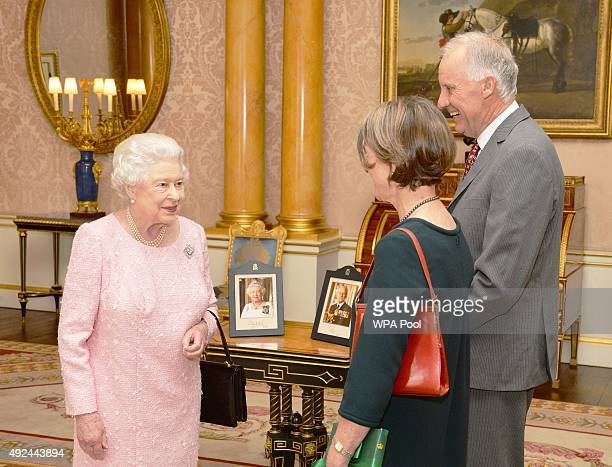 Queen Elizabeth II talks with Her Excellency Professor Kate Warner the Governor of Tasmania who was accompanied by Mr Richard Warner during a private...
