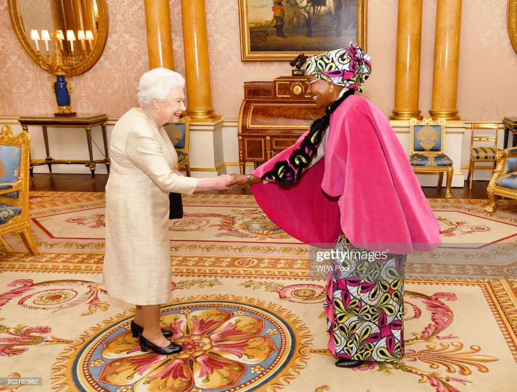 Queen Elizabeth II talks with Mrs Ammo Aziza Baroud, the Ambassador of the Republic of Chad, before she presented her Letters of Credence during a private audience at Buckingham Palace on February 21, 2018 in London, England.