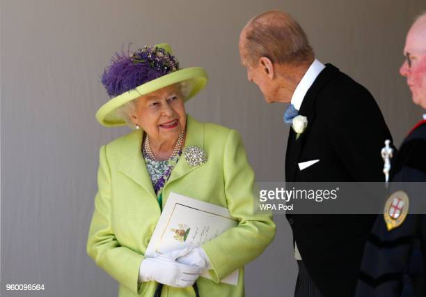 Queen Elizabeth II talks with Prince Philip Duke of Edinburgh after the wedding of Prince Harry and Meghan Markle at St George's Chapel at Windsor...