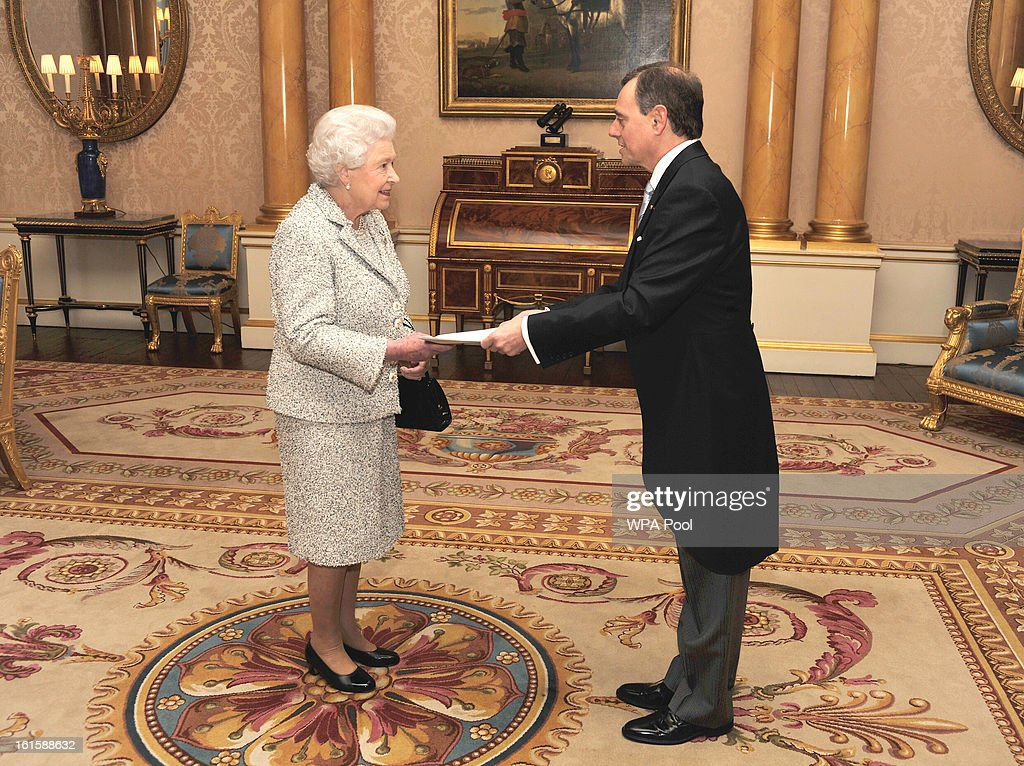Queen Elizabeth II talks with the Ambassador of the Hellenic Republic Mr Konstantinos Bikas, during a private audience after he presented his Credentials at Buckingham Palace on February 12, 2013 in central London, England.